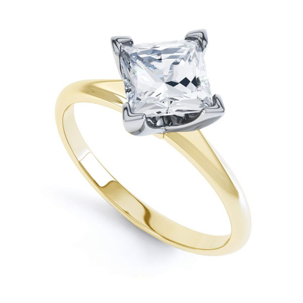Compass Set 4 Claw Princess Cut Diamond Ring In Yellow Gold