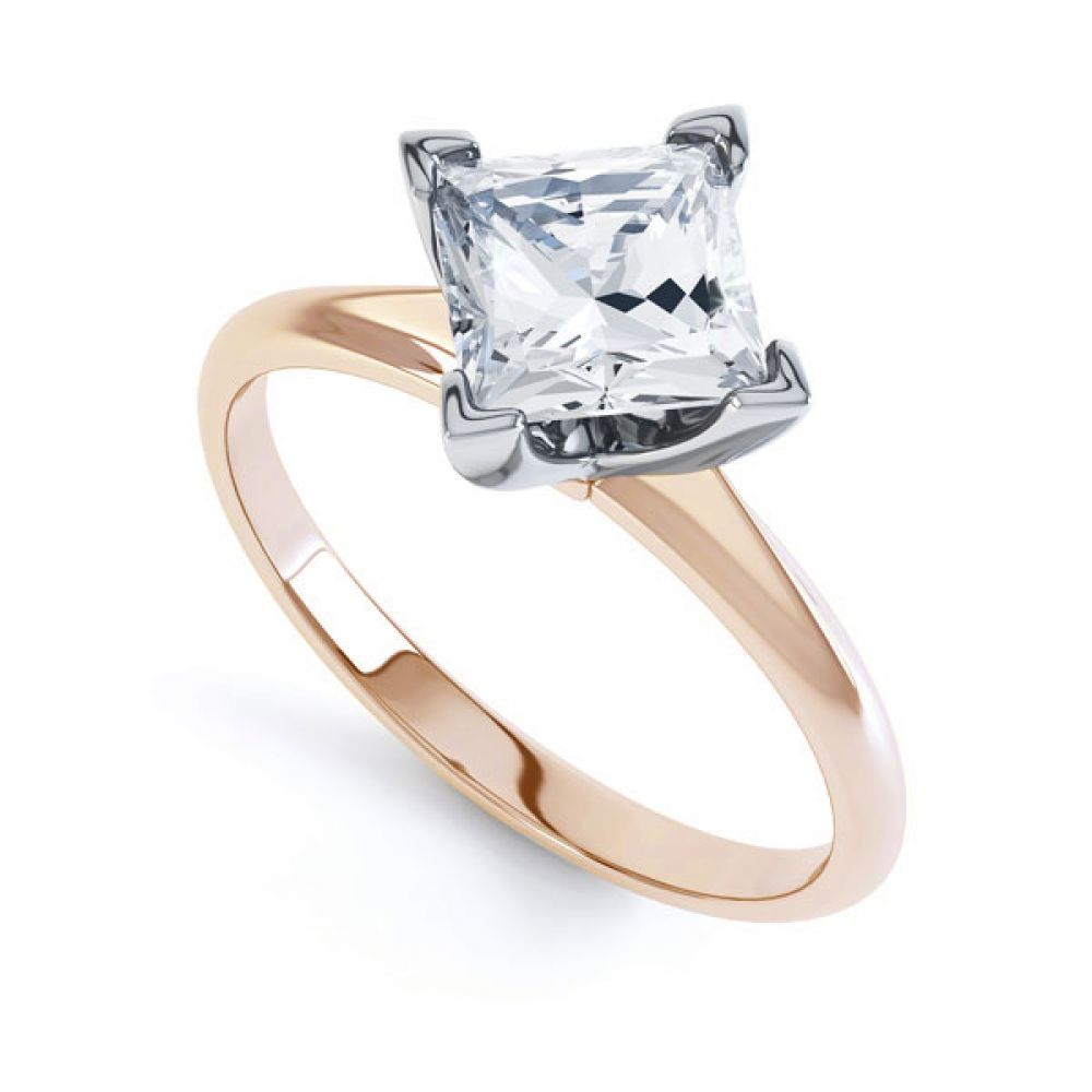 Compass Set 4 Claw Princess Cut Diamond Ring In Rose Gold