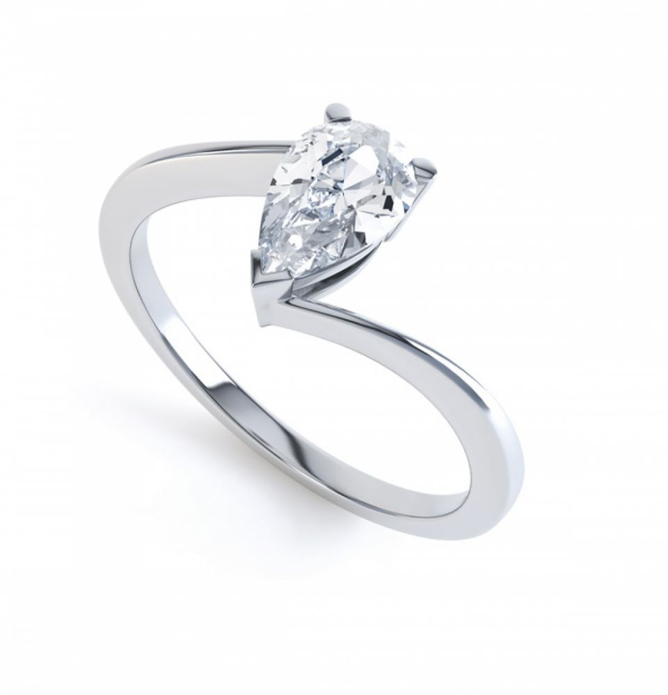 R1D068 Perspective, Pear shaped Twist Engagement Ring, White Gold
