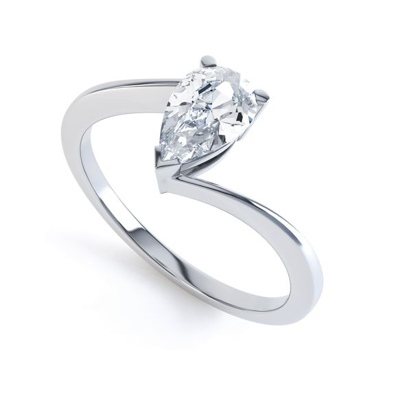 Pear Shaped Twist Diamond Engagement Ring Main Image