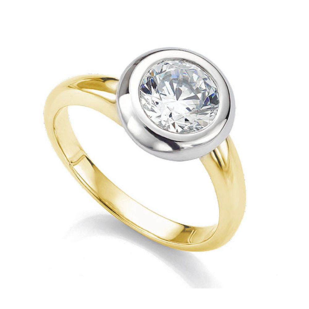 Domed solitaire diamond engagement ring in yellow gold