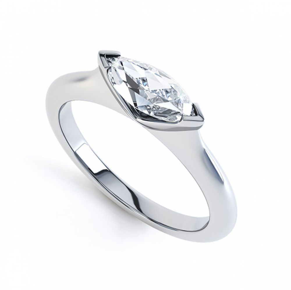 Sideways East-West Set Marquise Diamond Ring