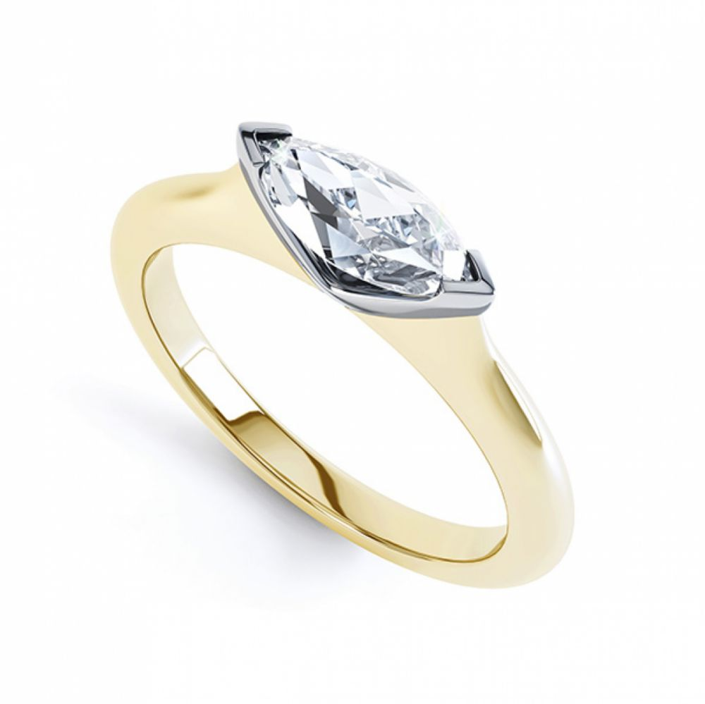 SSideways East-West Set Marquise Diamond Ring Yellow Gold Perspective View