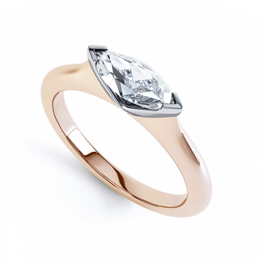 Sideways East-West Set Marquise Diamond Ring Rose Gold Perspective View