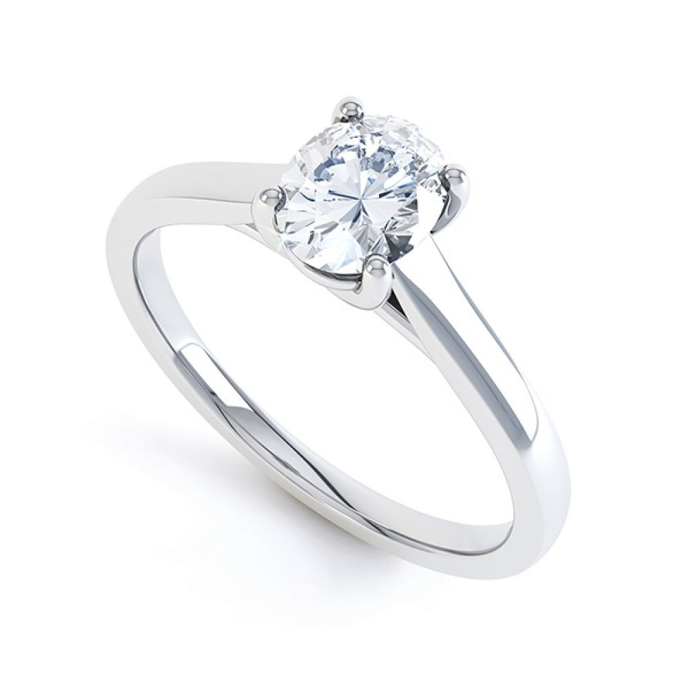 Modern Classic 4 Claw Oval Solitaire Engagement Ring