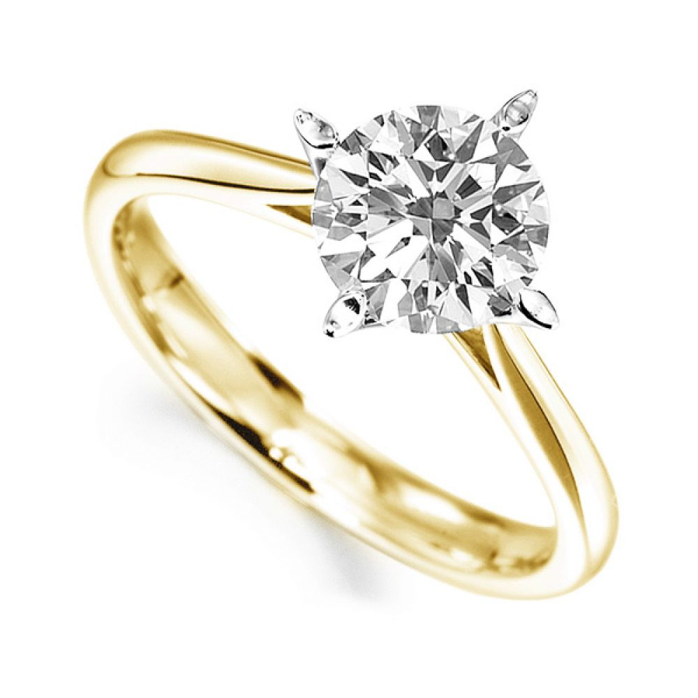 Flared 4 Claw Round Solitaire Diamond Engagement Ring In Yellow Gold