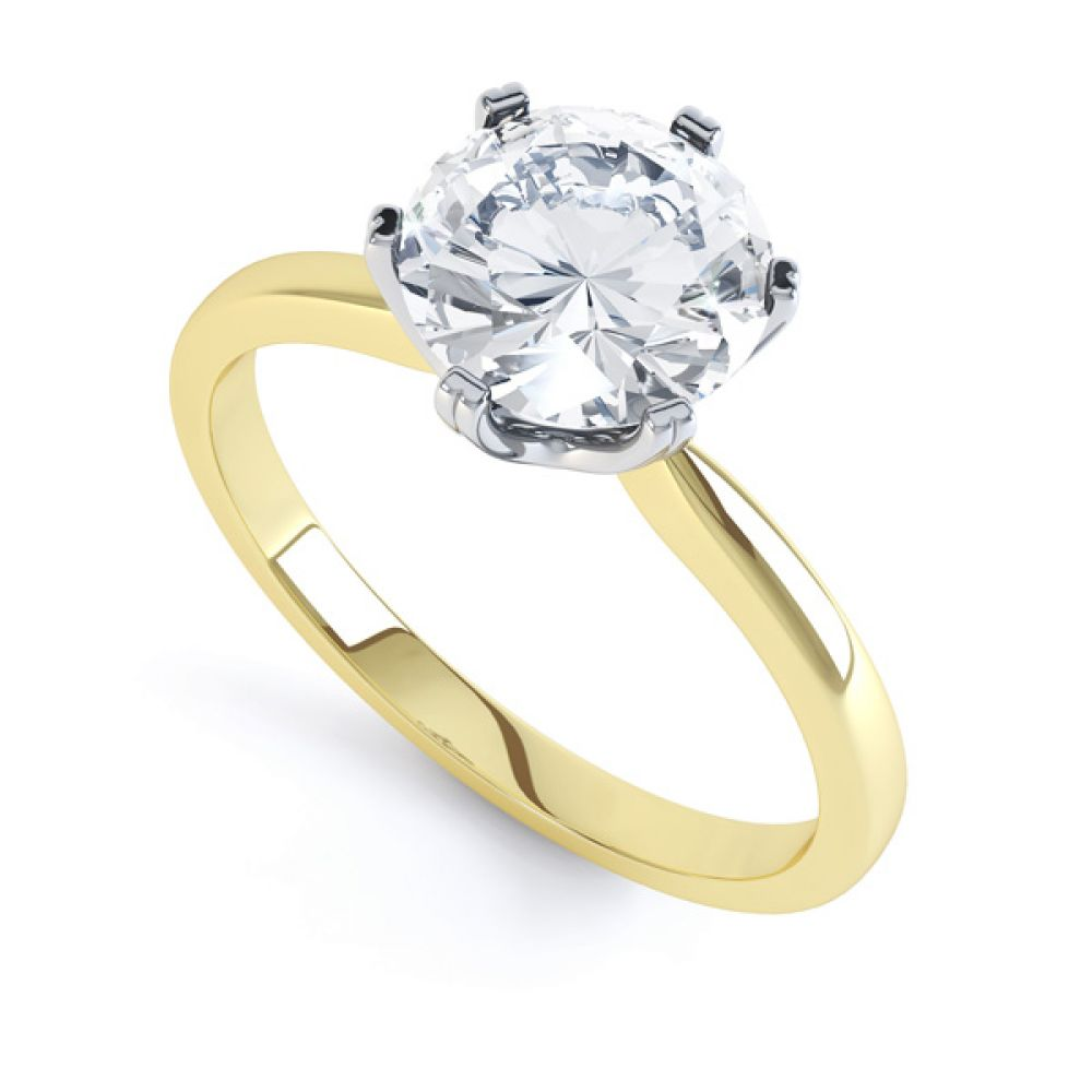 Tiffany style solitaire R1D077 front view yellow gold