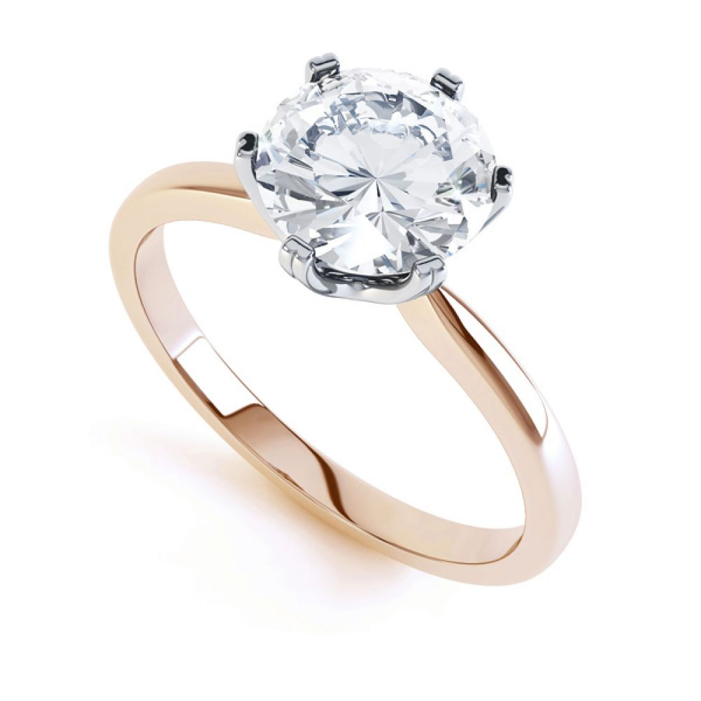 Tiffany style solitaire R1D077 front view rose gold
