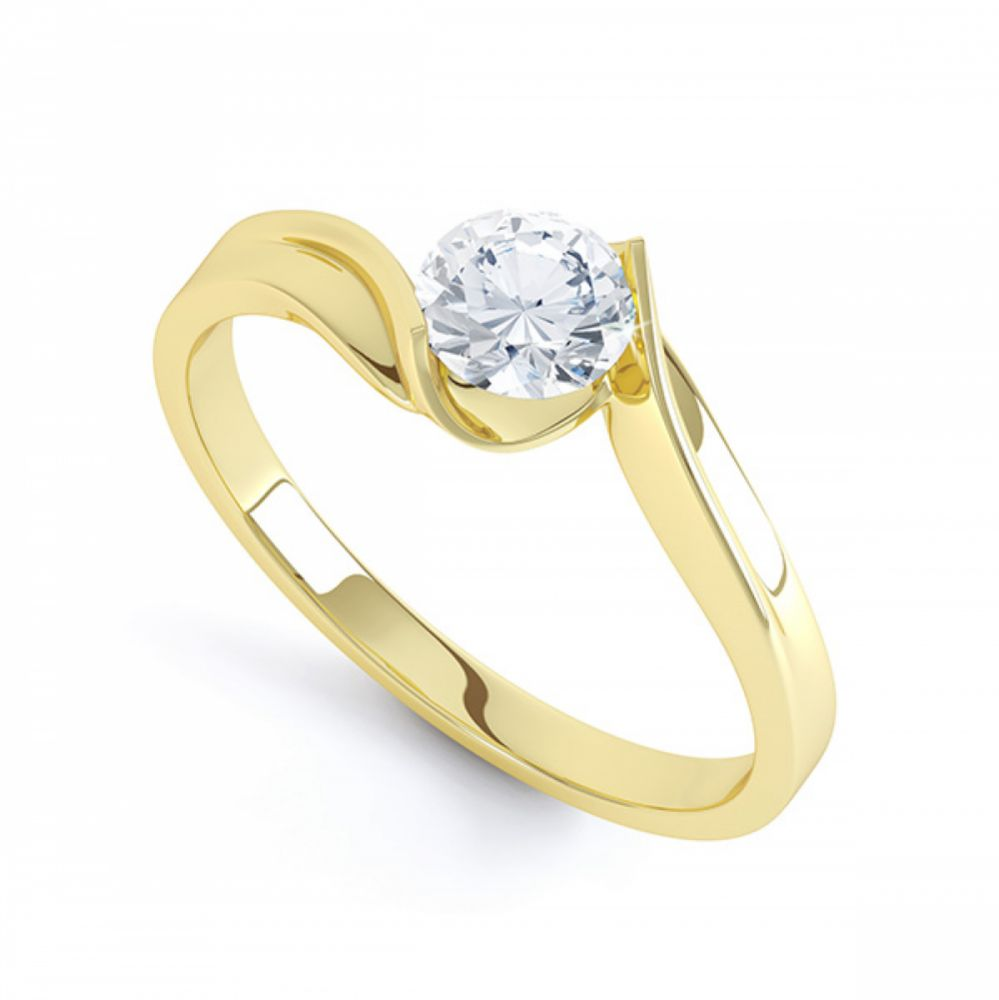 Tension Set Twist Round Solitaire Engagement Ring In Yellow Gold