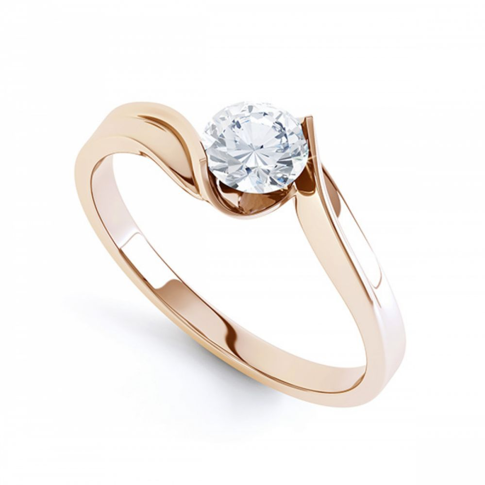 R1D078 Unity solitaire engagement ring perspective view in rose gold