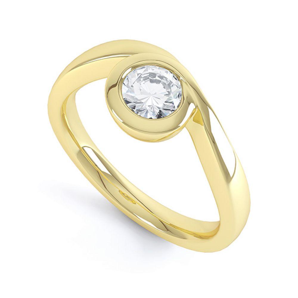 Asymmetrical Full Bezel Diamond Engagement Ring Side View
