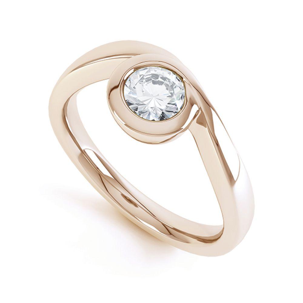 Asymmetrical Full Bezel Diamond Engagement Ring Front View