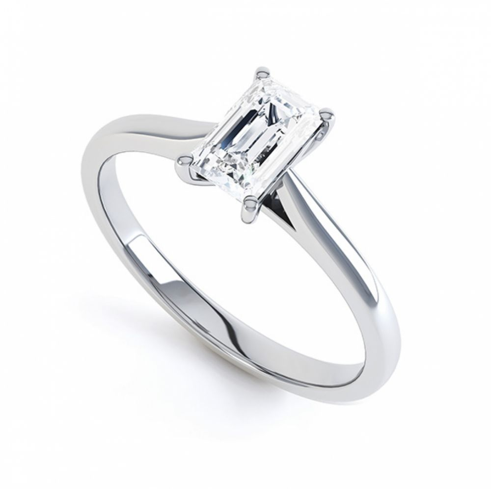 Finesse 4 Claw Emerald Cut Engagement Ring