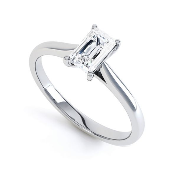 Finesse 4 Claw Emerald Cut Engagement Ring Main Image
