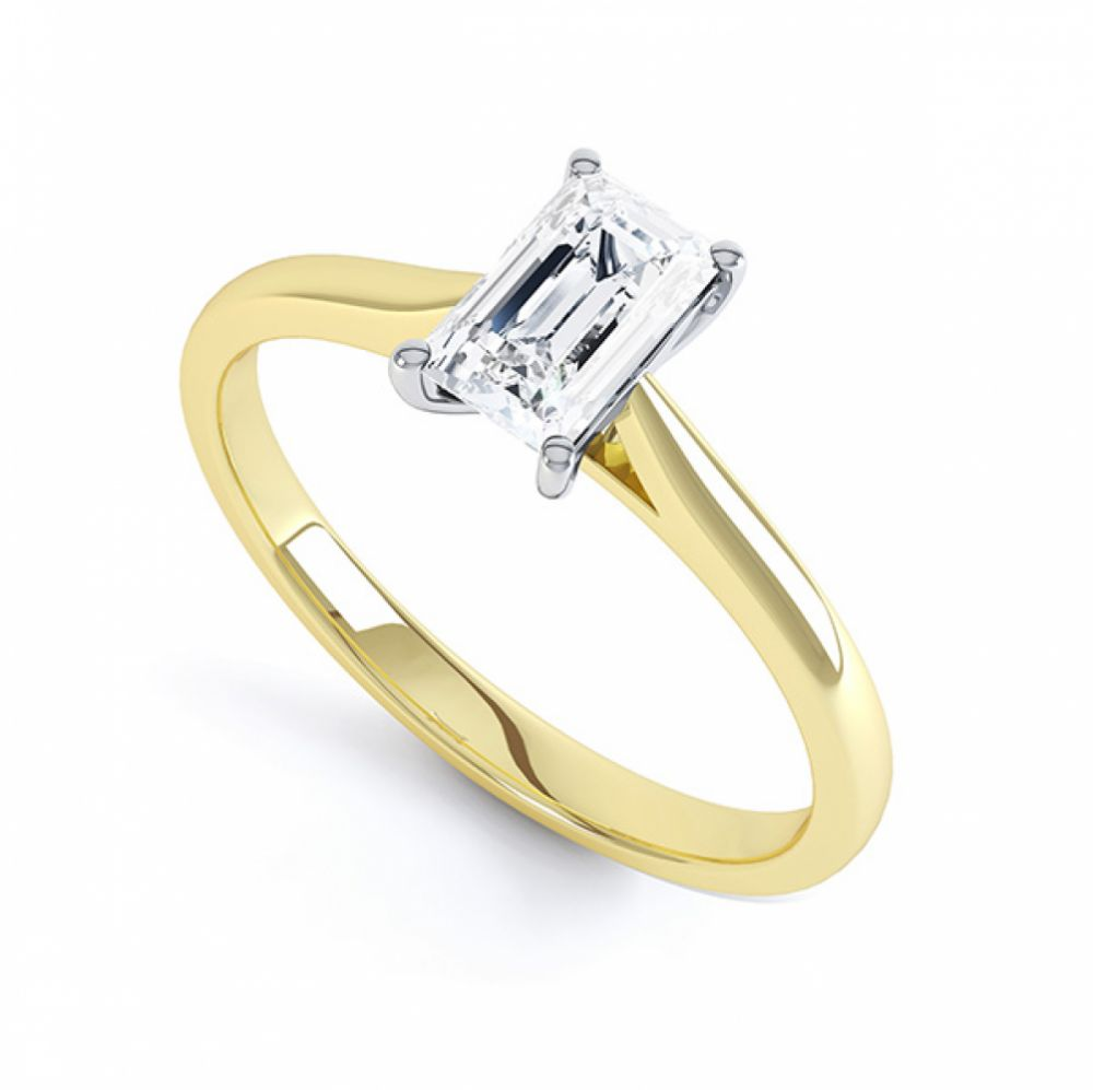Finesse 4 Claw Emerald Cut Engagement Ring Side View