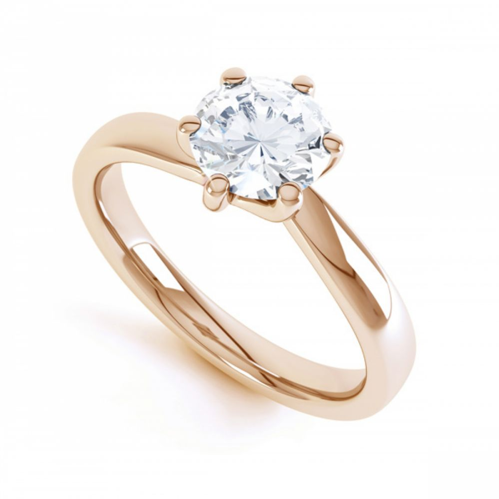 6 Claw Twist Solitaire Diamond ring - perspective rose