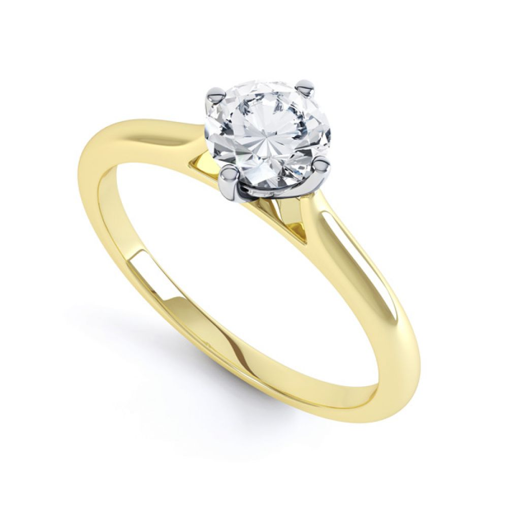 Diamond Accent 4 Claw Solitaire Engagement Ring Side View