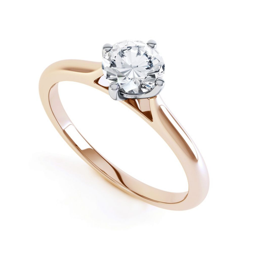 Diamond Accent 4 Claw Solitaire Engagement Ring Close Side View In Rose Gold