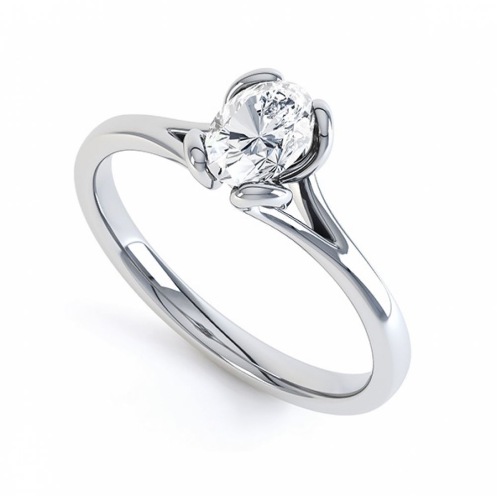 Oval Solitaire Ring with Looped 4 Claw Setting