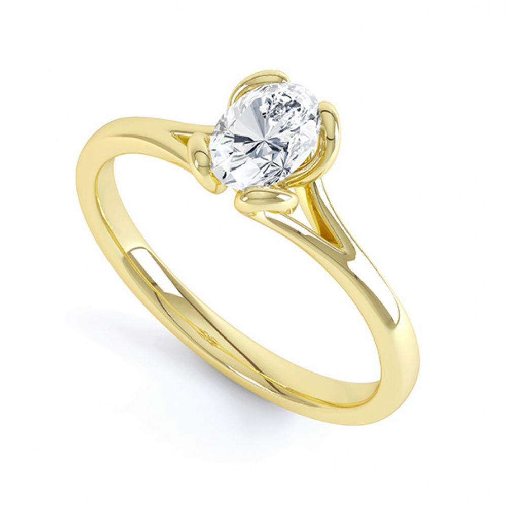 Oval Solitaire Ring with Looped 4 Claw Setting Perspective View Yellow Gold