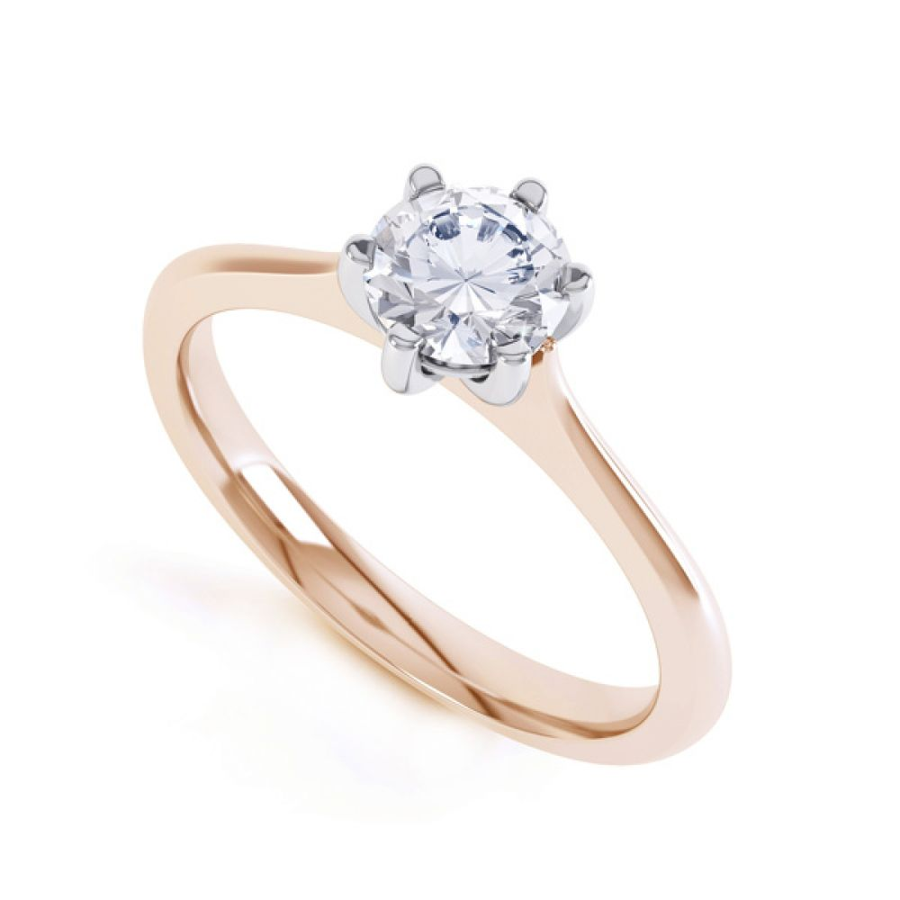 6 Claw Diamond Engagement Ring with Basket Setting In Rose Gold