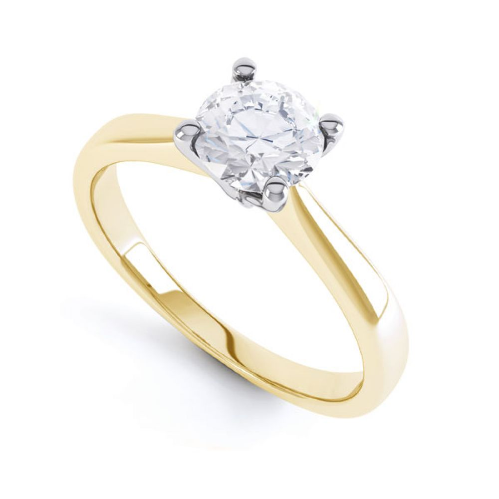 4 Claw Wedfit Round Solitaire Engagement Ring In Yellow Gold