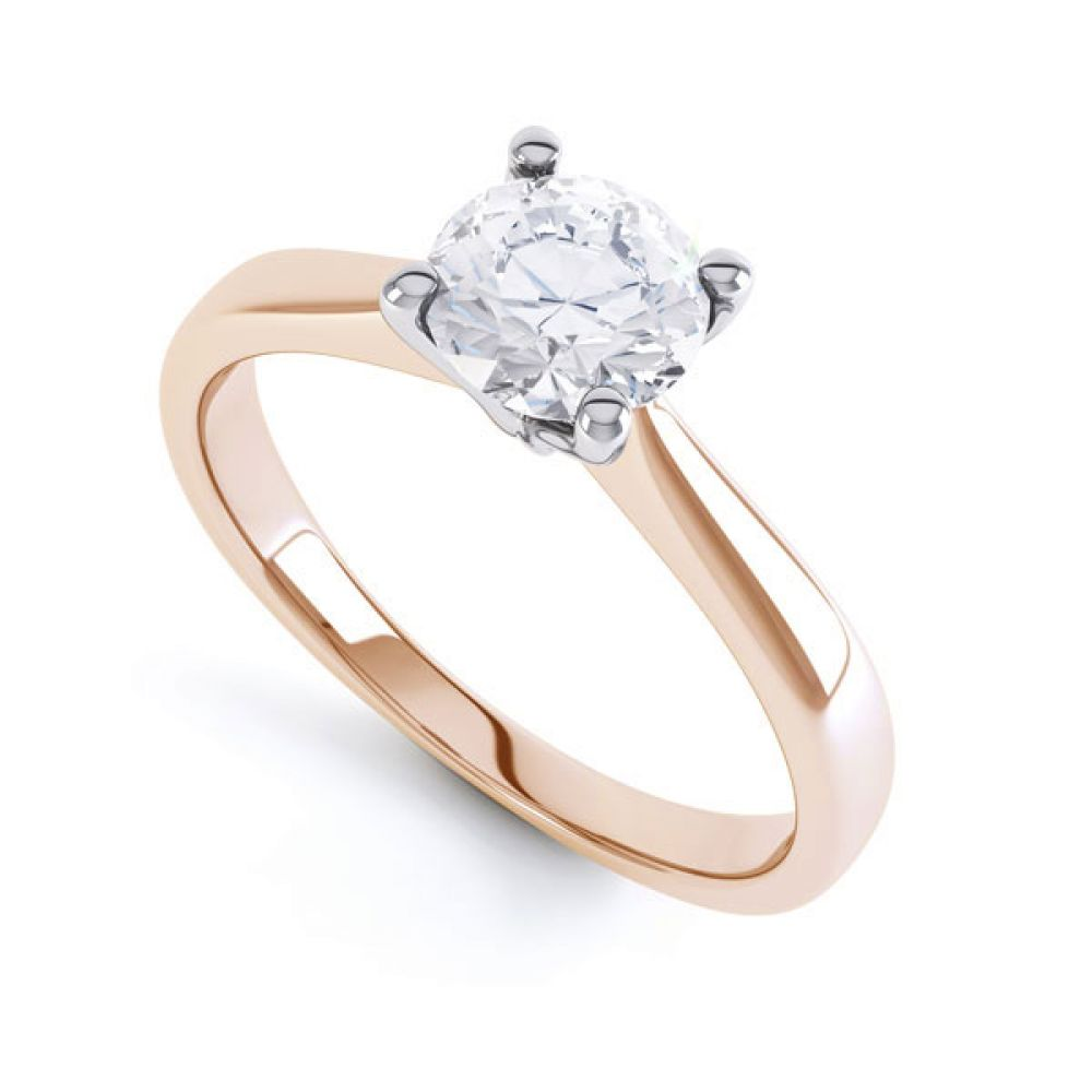 4 Claw Wedfit Round Solitaire Engagement Ring In Rose Gold
