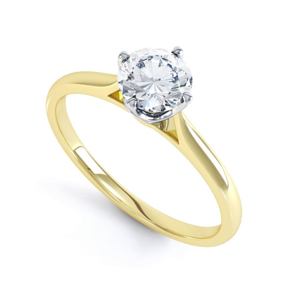 4 Claw Wedfit Compass Set Solitaire Ring In Yellow Gold