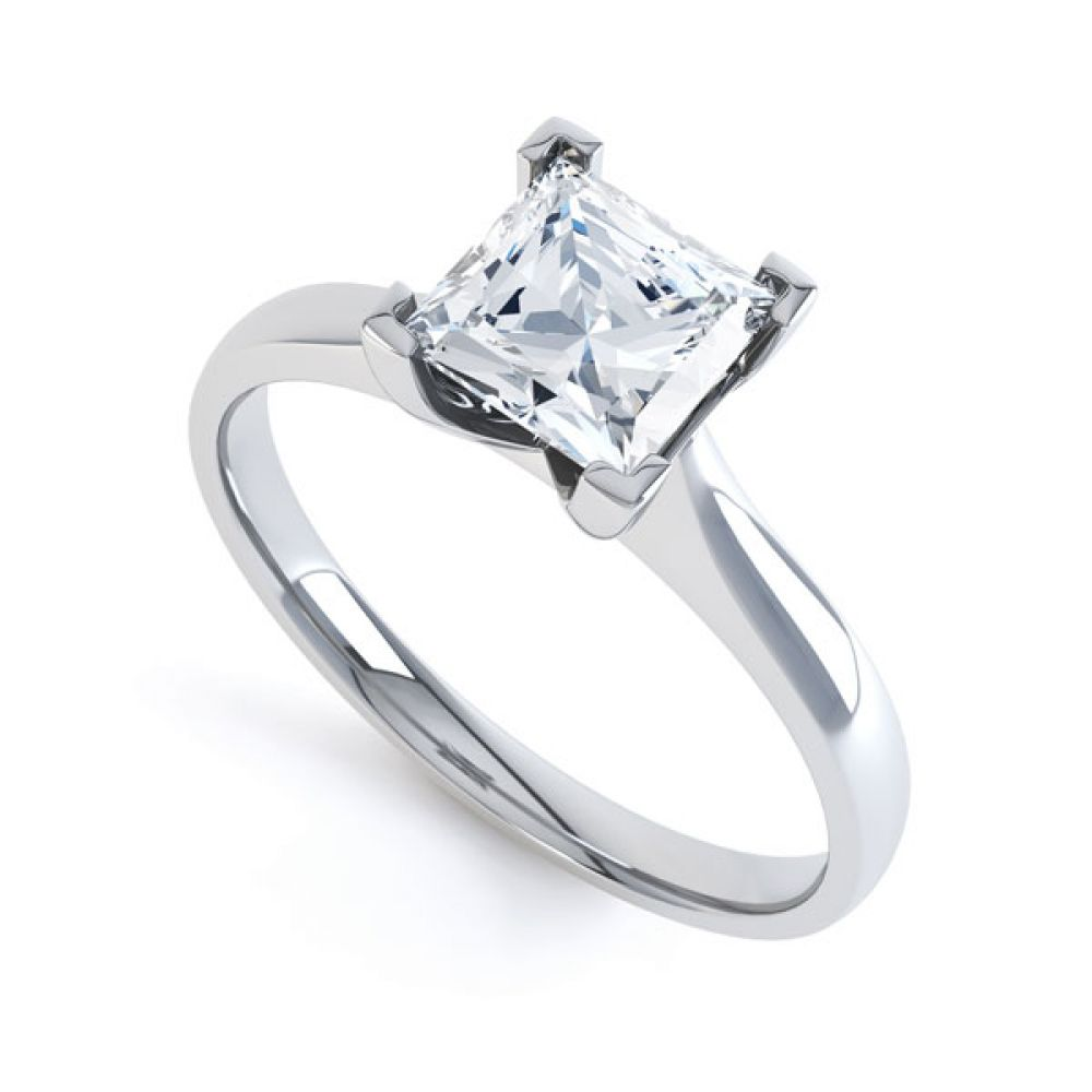 Princess Diamond Engagement Ring Square Claws