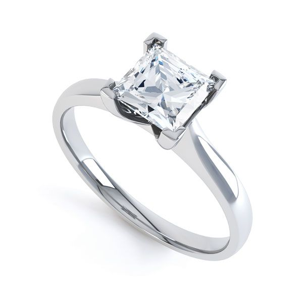 Princess Diamond Engagement Ring Square Claws Main Image