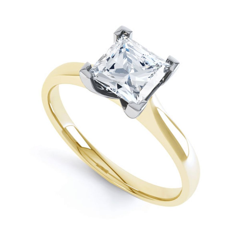Princess Diamond Engagement Ring Square Claws In Yellow Gold