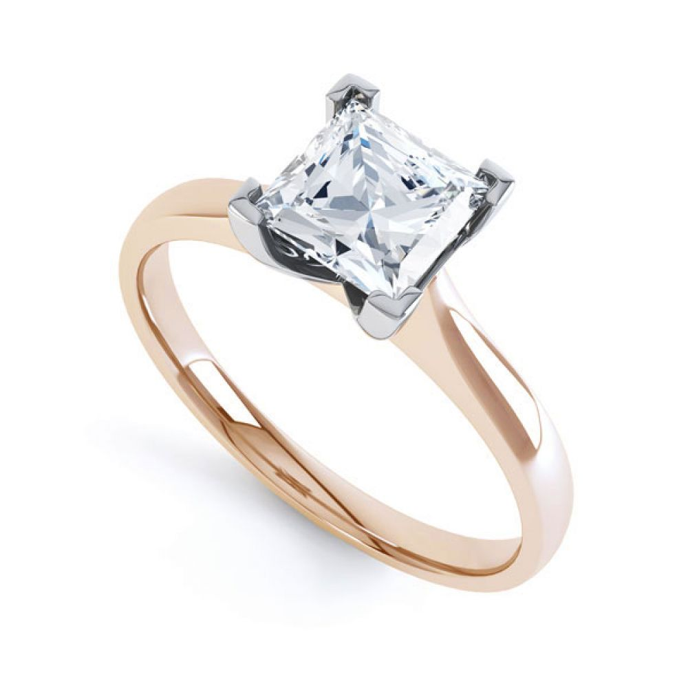 Princess Diamond Engagement Ring Square Claws In Rose Gold