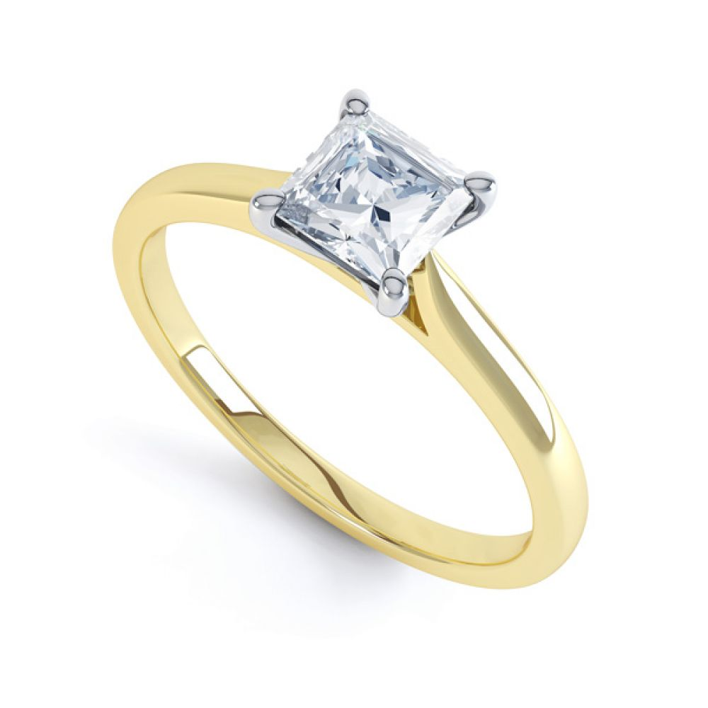 4 Prong Princess Engagement Ring Wedfit Setting In Yellow Gold