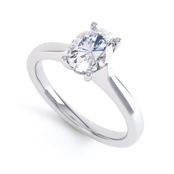 Wedfit 4 Claw Oval Diamond Engagement Ring Main Image