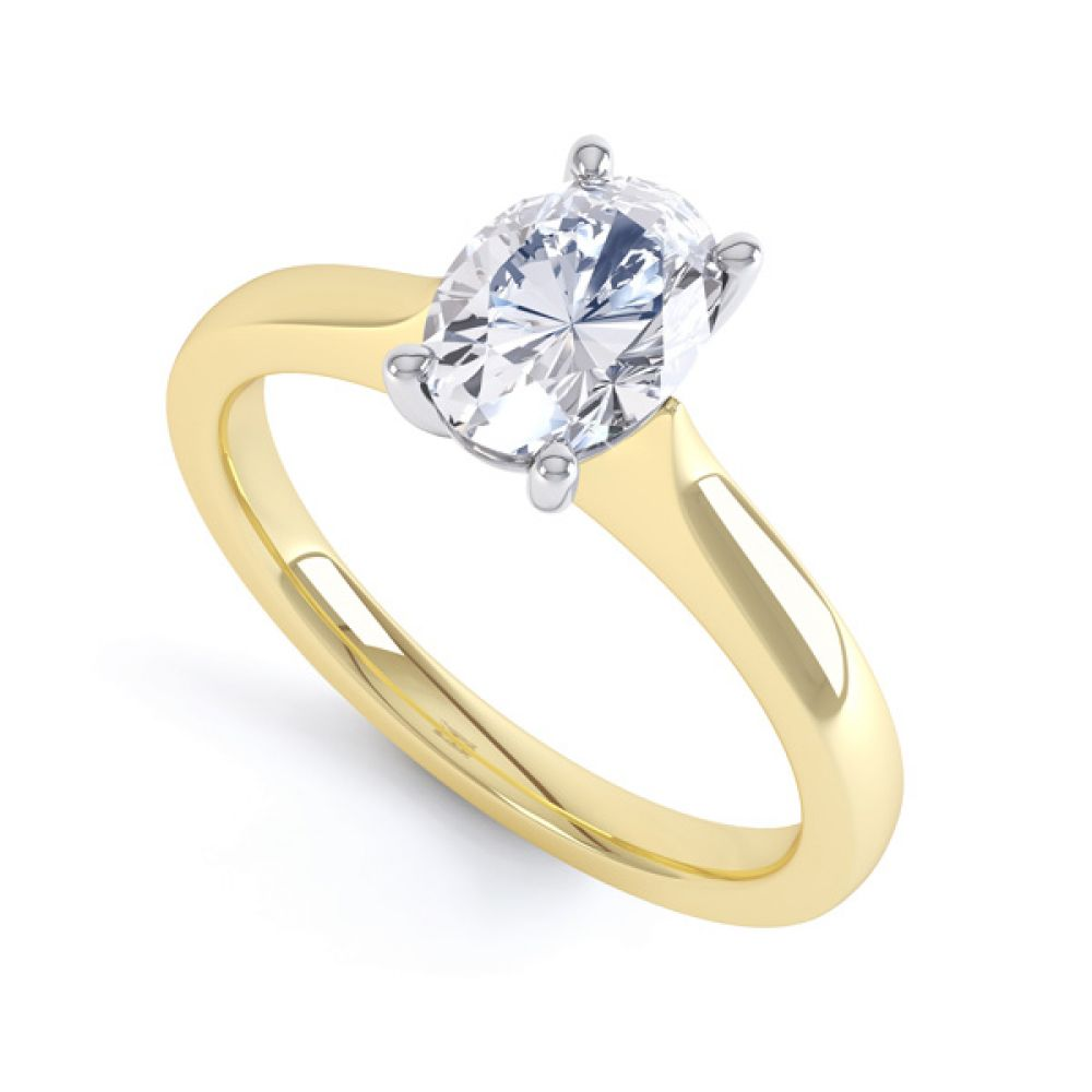 Wedfit 4 Claw Oval Diamond Engagement Ring In Yellow Gold