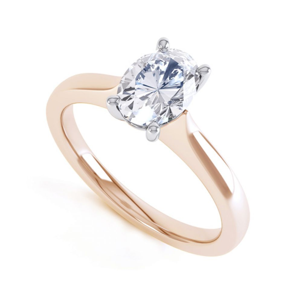Wedfit 4 Claw Oval Diamond Engagement Ring In Rose Gold