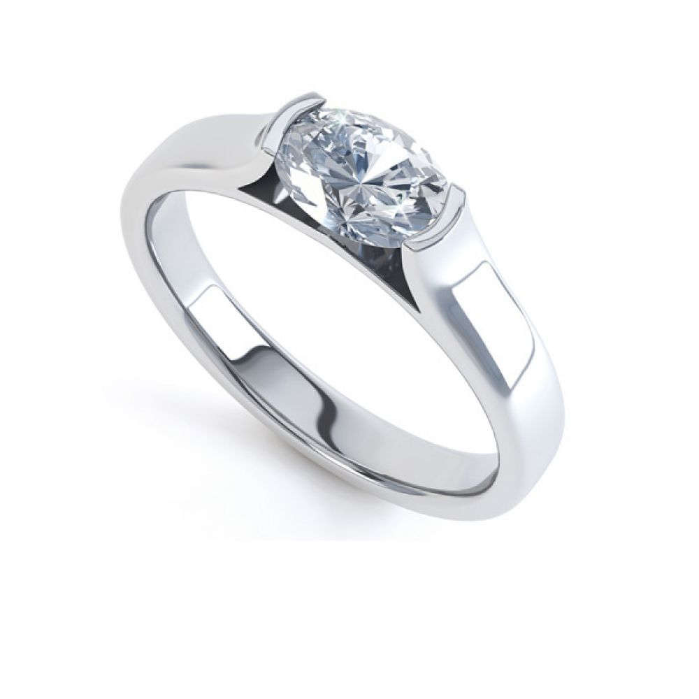 Sideways Oval East-West Engagement Ring
