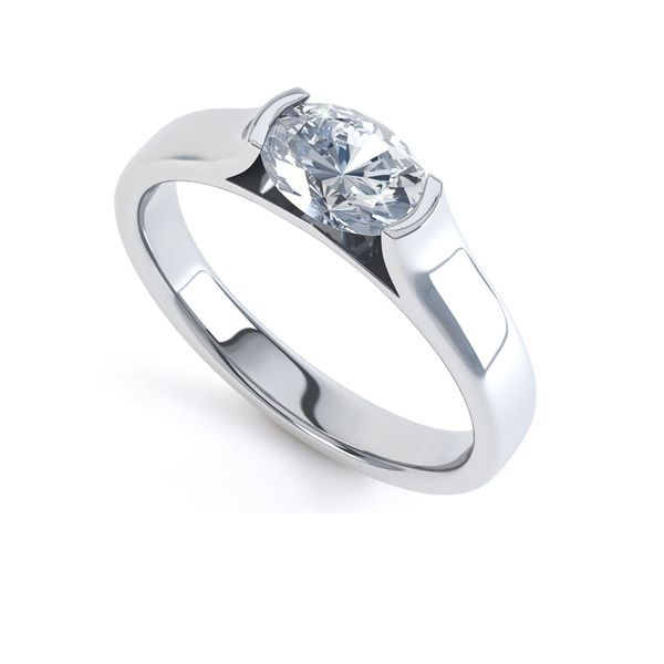 Sideways Set Oval Solitaire Engagement Ring Main Image