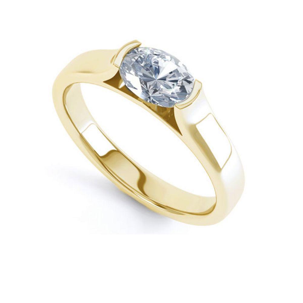 Sideways Oval East-West Engagement Ring Yellow Gold