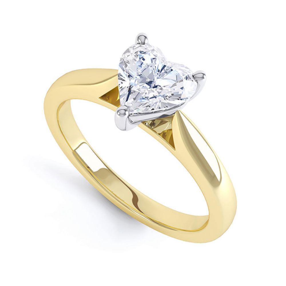 3 Round Claw Heart Shaped Solitaire Ring In Yellow Gold