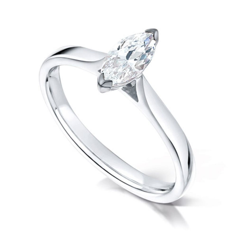 2 Claw Marquise Diamond Solitaire Ring