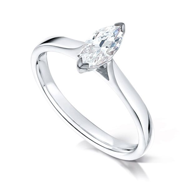 2 Claw Marquise Diamond Solitaire Ring Main Image