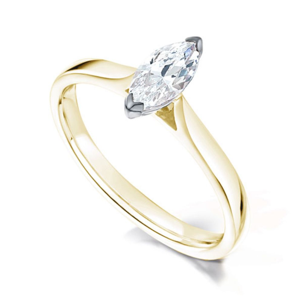 2 Claw Marquise Diamond Solitaire Ring In Yellow Gold