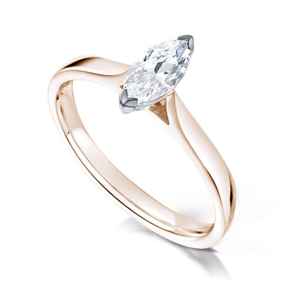 2 Claw Marquise Diamond Solitaire Ring In Rose Gold