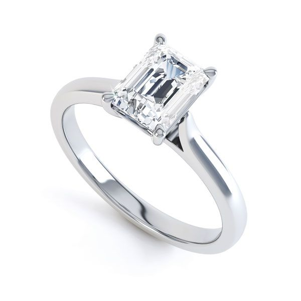 Simple 4 Claw Emerald Diamond Solitaire Ring Main Image