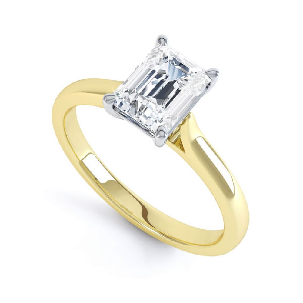 Simple 4 Claw Emerald Diamond Solitaire Ring In Yellow Gold