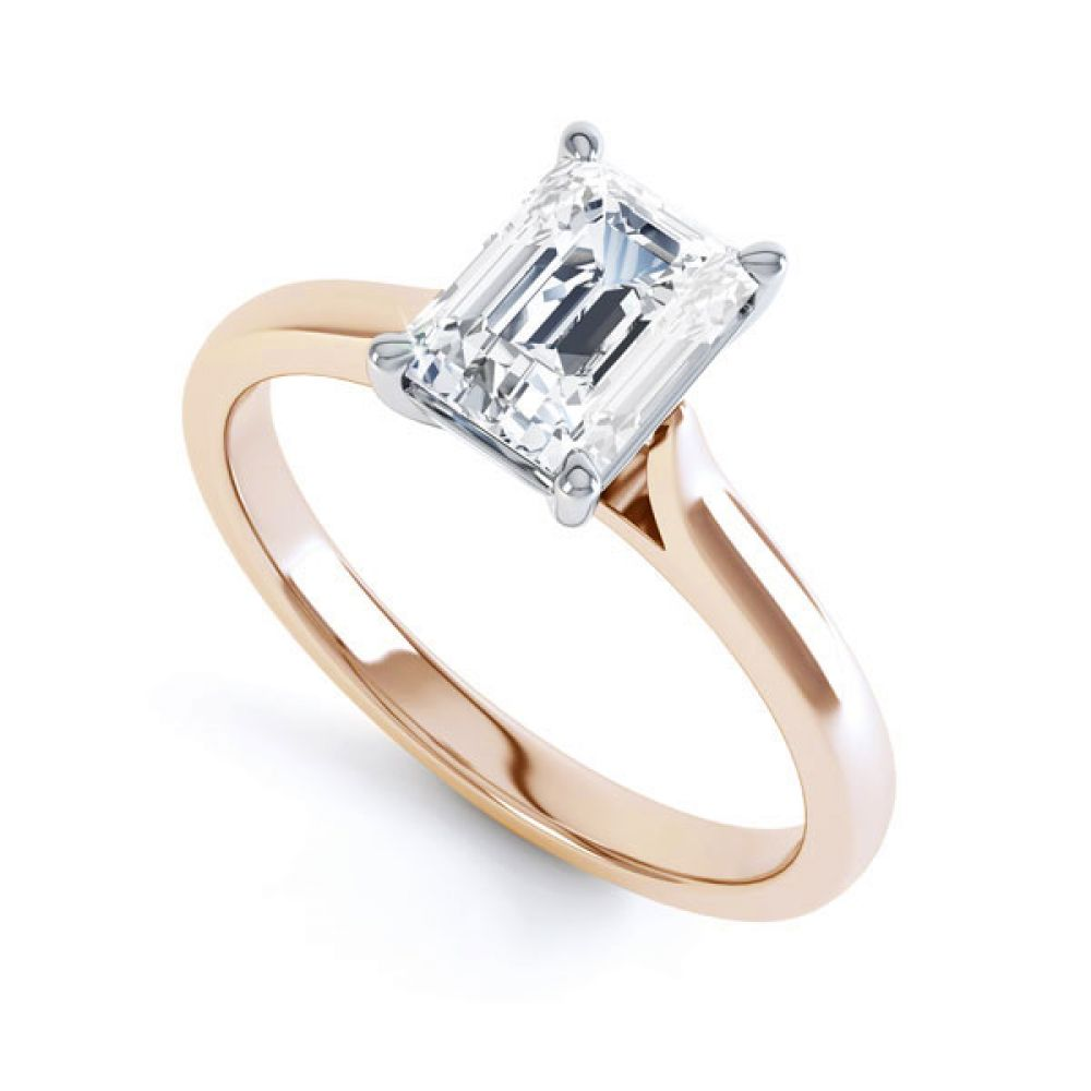 Simple 4 Claw Emerald Diamond Solitaire Ring In Rose Gold