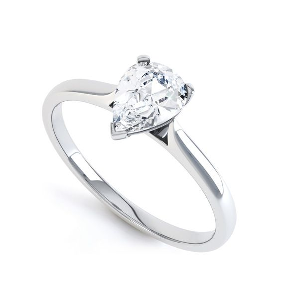 3 Claw Pear Diamond Engagement Ring Main Image