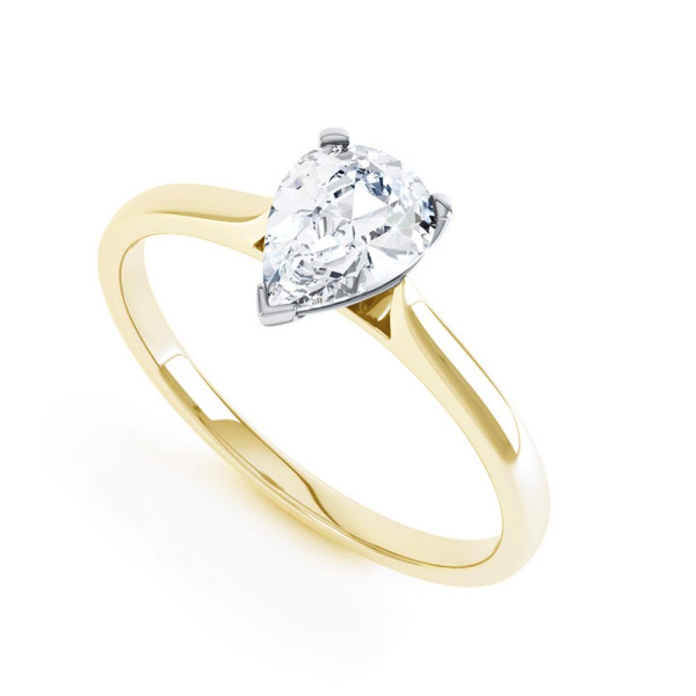 3 Claw Pear Diamond Engagment Ring In Yellow Gold