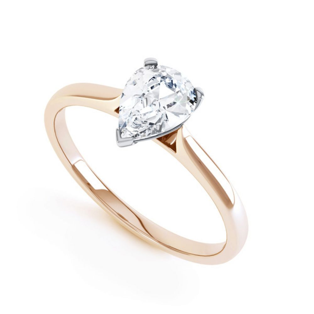 3 Claw Pear Diamond Engagement Ring In Rose Gold